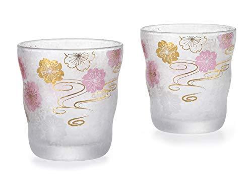 Aderia Japan Japanese Glass Sake Cup 335ml Sakura Cherry Blossom - Set of 2 Glasses S-6299 Cherry Blossom Sake Set