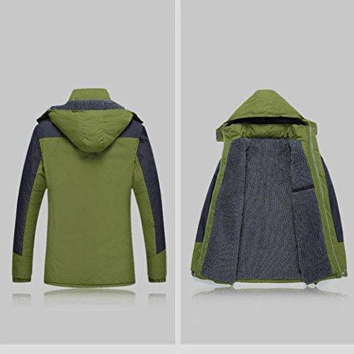 Manteau, Malloom Hommes imperméables à l'épreuve du vent Sports extérieurs Manteau de veste épaisse d'hiver chaud Armée verte