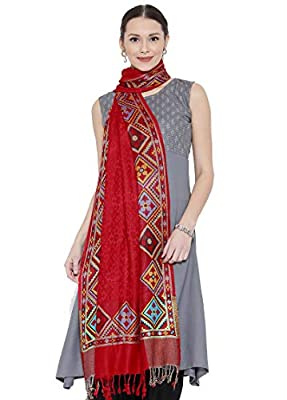 Weavers Villa Women's Soft Viscose Shawls (Red, Medium)