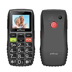 artfone Seniorenhandy ohne Vertrag | Dual SIM Handy mit Notruftaste | Rentner Handy große Tasten | 1400 mAh Akku Lange Standby-Zeit | Großtastenhandy mit Ladegerät und Kamera | 1,77 Zoll Farbdisplay