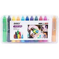 Rrunzfon Pintura Facial con 12 Colores, Maquillaje Pintura Corporal para Cumpleaños, Disfraces y Otras Fiestas Pintura Facial para Niños