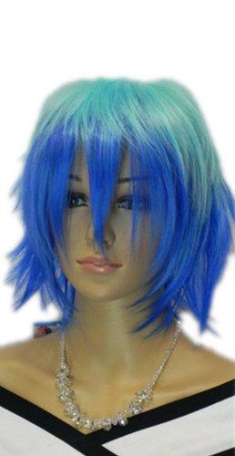 QIYUN.Z Haarteile Damen Perücken Punk Rock Star Blue Mix Stacheligen Gerade Schicht Kurzen Voll Anime Cosplay Kostüm Perücke (Punk Star Kostüm)