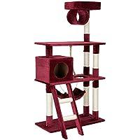 [en.casa] Rascador Para Gatos Árbol Para Gatos Trepar Sisal Juguetes - 70 x 35 x 141 cm - rojo oscuro