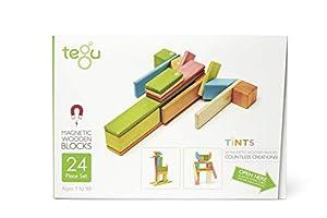 Tegu Juego de Bloques de Construcción de madera magnéticos de 24 piezas - Tintes