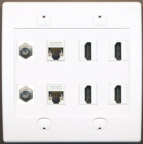 RiteAV 2Port Koax-Kabel-TV F-2CAT5e Ethernet und 4HDMI Wall Plate 8-port Flush