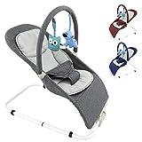 Baby Babywippe Schaukelstuhl mit abnehmbarem Bezug und Spielebogen - in 3 Farben (Grau)