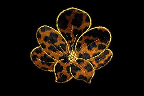 Altotux 5.5 x 5 Cheetah Leopard Print Furry Flower Iron on Patch Animal Fur Pattern By Piece by Altotux Furry Leopard