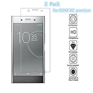 [2 pcs] Sony Xperia XZ Premium Screen Protectors, EJBOTH Sony Xperia XZ Premium Tempered Glass, Screen Protector for Sony Xperia XZ Premium, Anti-fingerprint High Definition Ultra-resistant.