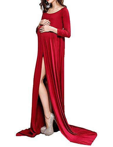 Battercake Damen Fotografie Umstandskleid Lange Ärmel Rundhals Maxi Elastisch Casual Frauen Kleid Schwangeres Trailing Kleid Lässige Einfarbig Schwangerschaftskleid Umstandsmode