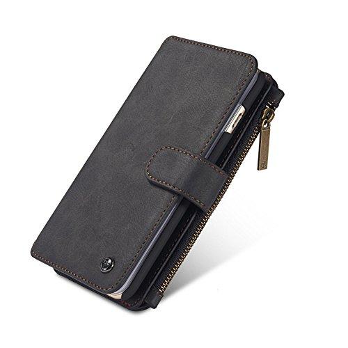 elecfan iPhone 7 Hülle, iPhone 8 Hülle, Business Stil Leder Klappbar Schutzhülle Handyhülle Magnet Flip Wallet Purse Case mit Kreditkartenhaltern und Geldbeutel für Apple iPhone 8 & 7 - Schwarz Leder Apple Wallet
