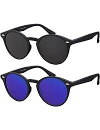 Originale La Optica UV400 Occhiali da Sole Unisex Specchiata Rotondi - Colori, Confezione Singola/Doppia