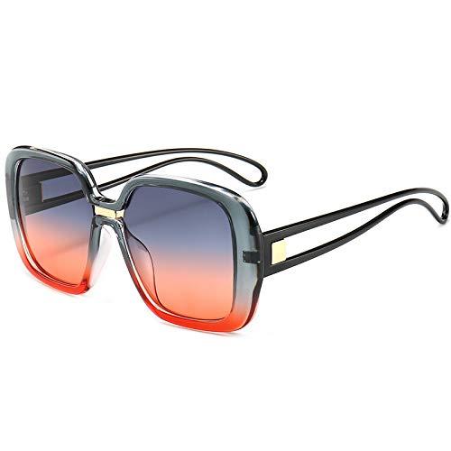 FILTERQ Schattenschild Flache Oberseite Übergroßen Quadratischen Aviator Frauen Damen Männer Designer Kim K Stil Retro Promi Sonnenbrille,C3