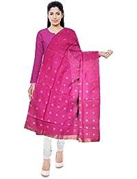Mubarakpur Weaves' Women's Cotton Silk Handloom Dupatta (Pink) - B077YXYQ3S