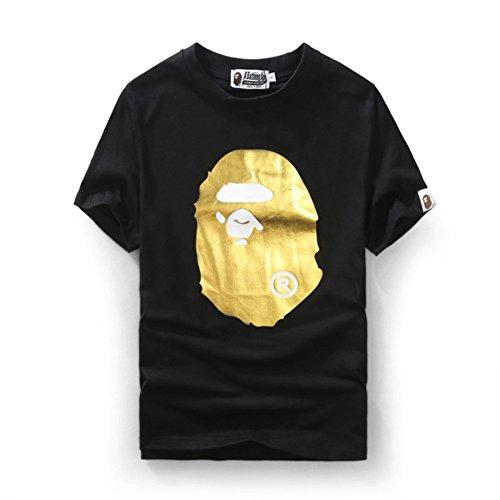 BOMOVO Herren BAPE Herren T-Shirt Basic - Slim Fit Schwarz