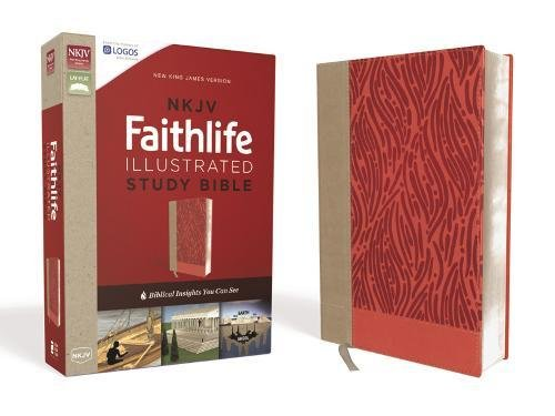 Zondervan Publishers (NKJV, Faithlife Illustrated Study Bible, Leathersoft, Pink, Red Letter Edition: Biblical Insights You Can See)