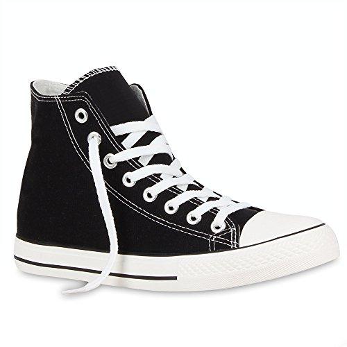 stiefelparadies Herren Sneakers Sneaker High Denim Turn Camouflage Stoff Schnürer Schuhe 54120 Schwarz Ambler 36 Flandell