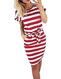 3383e0d9562d33 Gusspower Mode Damen Kleid Sommer Casual Rundkragen Kurzarm Gestreifte  Krawatte Taille Frauen Batwing Beiläufige Knielänge Rot