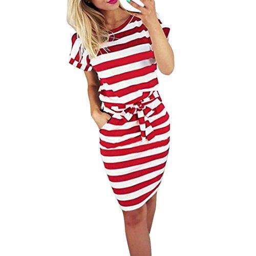 Gusspower Mode Damen Kleid Sommer Casual Rundkragen Kurzarm Gestreifte Krawatte Taille Frauen Batwing Beiläufige Knielänge Rot Kleid (Rot,...