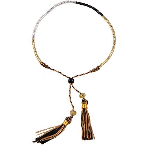 KELITCH Handmade Armband Kristall Perlen Schnur Freundschaftsarmbänder mit farbig Quaste Anhänger - #13
