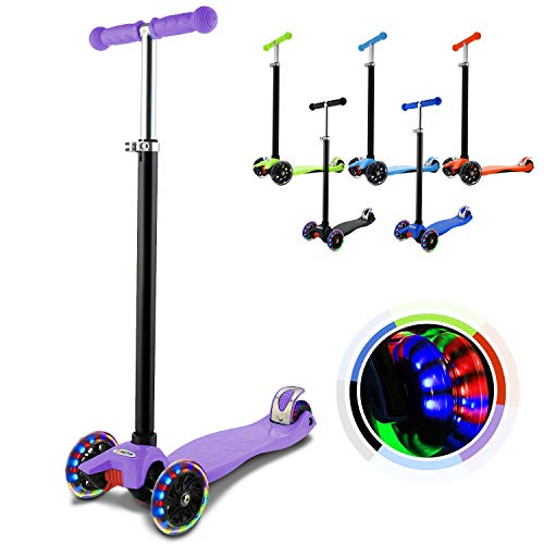 Hikole Kinderscooter Dreirad mit verstellbarem und Abnehmbarer Lenker Tret-Roller LED Räder Blinken für Kinder ab 3 Jahren (Lila)