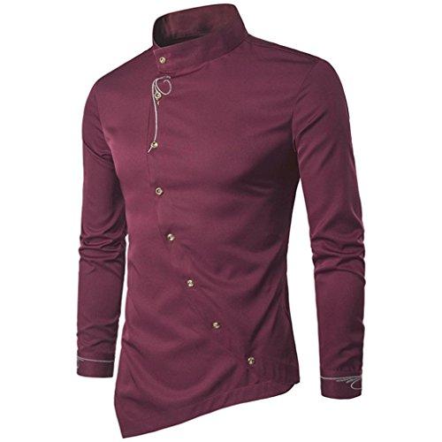 Herren Tops,TWBB Vintage Einfarbig Stickerei Männer Oberteile V-Ausschnitt Shirt Lange Ärmel Schlank Hemd Bluse Persönlichkeit Sweatshirts