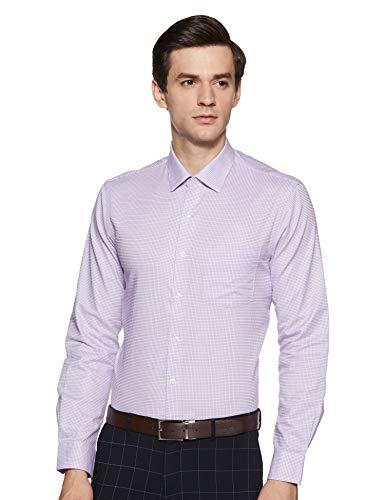 Arrow Men's Checkered Slim Fit Formal Shirt (ARES0916_Purple_42)