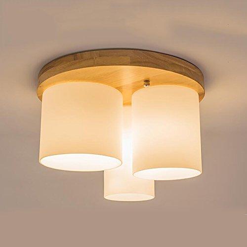 Plafonnier Peaceip Lampe de Plafond Simple en Bois Massif Restaurant léger Style Chinois Chambre créative Salle d'étude Ambiance Salon (Couleur : 3 Head)
