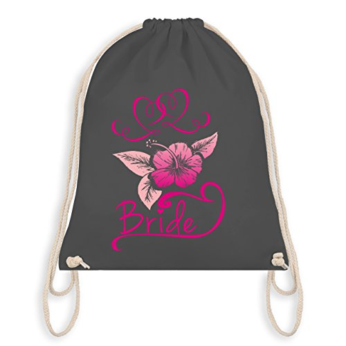 JGA Junggesellinnenabschied - Bride Blumen pink - Turnbeutel I Gym Bag Dunkelgrau