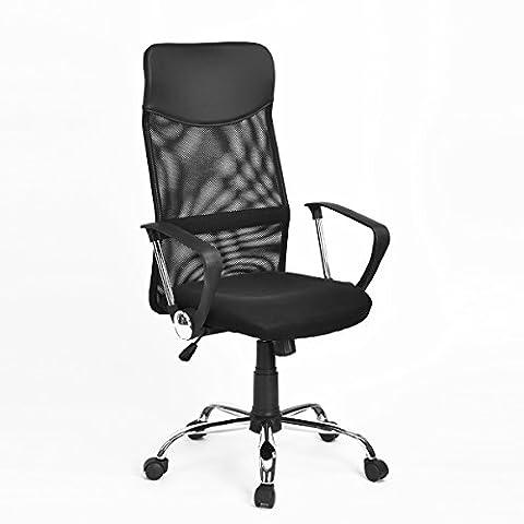 N.B.F Chaise de Bureau Réglable Chaise de Direction Chaise de Bureau Pivotante Tabouret de Bureau Noir