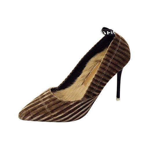 (Stiefelparadies Spitze Damen Pumps | Party High Heels Schuhe | High-Heel Schuhe | Frühlings-Sommer-einzelne Schuhe | Spitzschuh | Flache Schuhe mit hohem Absatz aus Cord | Karneval Fasching Kostüm (34, Braun))