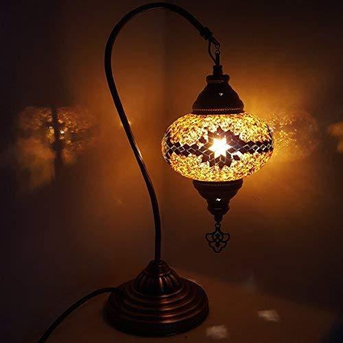 Türkisch Lampe / Marokkanische Lampe Tiffany Stil Glas Schreibtisch Tisch Lampe - g17-lrg 17cm -