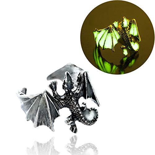 Leuchtring - Vintage Gothic-Ring für Männer Edelstahl-justierbare Ringe mit Drachen Persönlichkeit Mode-Ring
