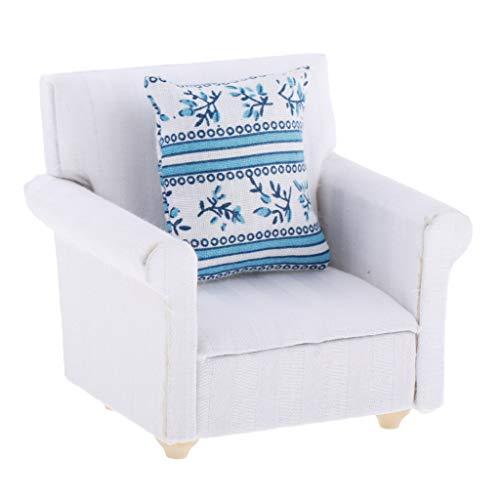 SM SunniMix 1:12 Puppenhaus Miniaturmöbel Einzel Sofa Sessel Stuhl Relaxsessel mit Kissen Puppenstube Dekoration -