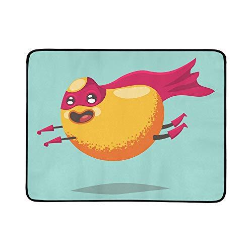 WYYWCY Nette Mango-Zeichentrickfilm-Figur-exotische Frucht-Muster-tragbare und Faltbare Deckenmatte 60x78 Zoll-handliche Matte für kampierenden Picknick-Strand