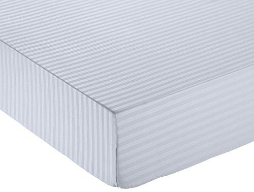 Amazonbasics - lenzuolo con angoli deluxe in microfibra, a righe, singolo, 90 x 190 cm - grigio scuro