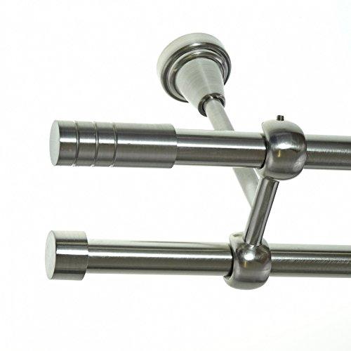 Gardinenstange Set Edelstahl Look Metall Ø 16mm zur Deckenbefestigung 2-lauf Zylinder nit Rillen, Länge wählbar D24 E28 E16, Länge:600 cm 600 Nit