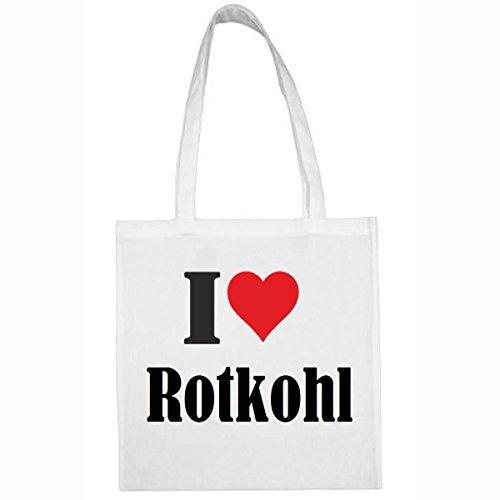 Tasche I Love Rotkohl Größe 38x42 Farbe Weiss Druck Schwarz