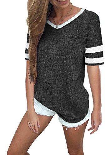 Ehpow Damen Kurzarm T-Shirt V-Ausschnitt Casual Sommer Lose Shirt Oversize Oberteile (Small, Schwarz)