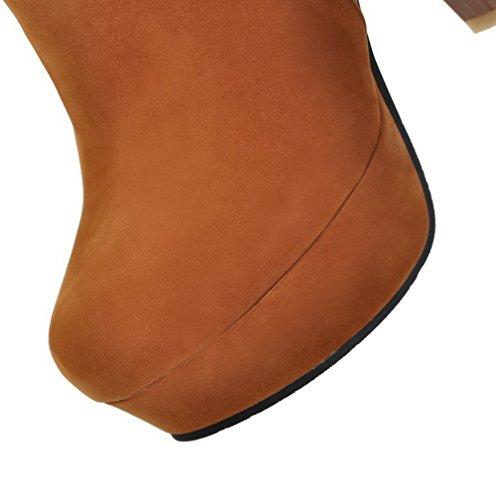 Solido Camoscio Stivali Giallo Agoolar Donna Tacco Rotondo In Alto Zip Di Colore Con Colore xqwF0awEB