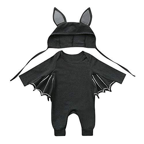 OverDose Damen Kleinkind Newborn Kinder Baby Jungen Mädchen Halloween Cosplay Tanz Rave Nette Weiche Kostüm Strampler Hut Outfits Set