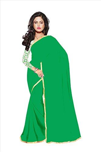 Sarees(Chiffon plain lace border Saree& net embroidared blouse)  available at amazon for Rs.347