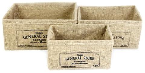 Sil Inscription General Store Lot de 3 Paniers
