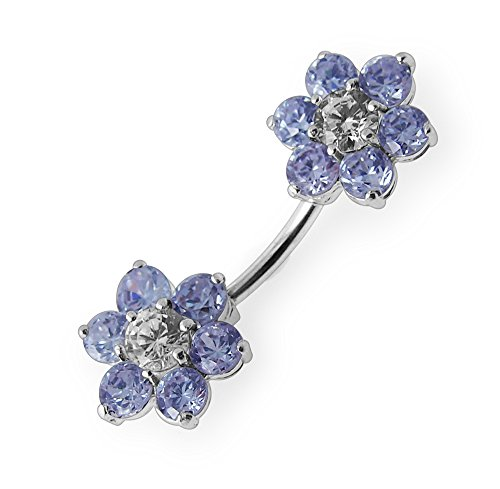 Bijou de corps Anneau de nombril en argent motif Fleurs jumelles en pierres Lavender