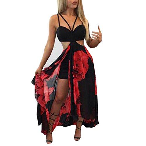Amlaiworld damen mit aufdruck rot rose Chiffon kleider locker Lange Tropischer Stil Kleid mode Plissee Strand kleidung (M, (Kostüme Tropische)