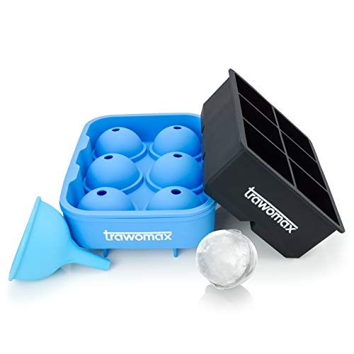 Trawomax®-Komplettset: Eiswürfelbereiter - 48mm Eiswürfelform - 45mm Eiskugelform - Eisform aus 100{35694d1056dddb05a2ab3edd5fb4327bfca9cf6acbbafdbd77d1fdc5d46082a0} BPA freiem Silikon | Gratis Cocktailrezepte + Trichter zum Befüllen (Silikon)