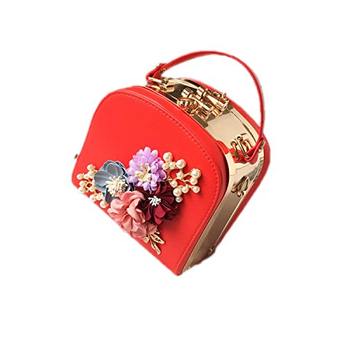 QPALZM 2017 Klippblumenart Und Weise Frische Handtaschenschulterbeutel Kurierbeutelfrau Minitaschenbeutel Red
