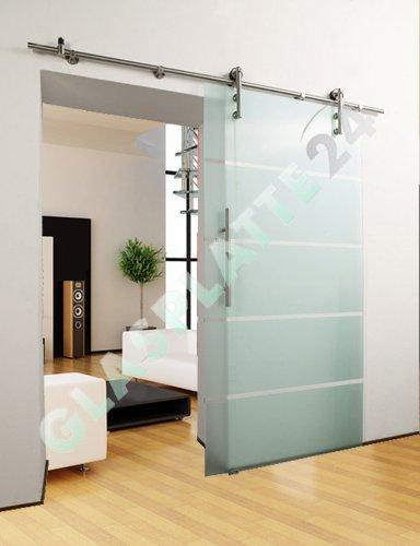 Glasschiebetür Schiebetür Glastür - 5-Streifendesign - 900x2050mm - Komplettset (Schiebetür Doppelseitige)