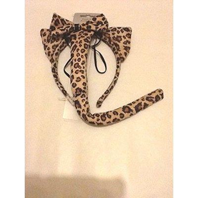 Kostüm Leopard Tail - Animal Print, mit Ohren und Schwanz, Leopardenmuster, mit Fliege Schleife, Kostüm Outfit