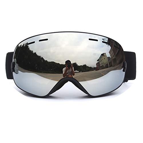 Sport Brille Durchsichtig Skibrille Erwachsene Doppel Anti Fog Männer Und Frauen Große Sphärische Skibrille Ausrüstung Einzel Und Doppelbrett Kakao Myopie Black Silver Damen Herren