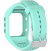 Silicona reloj banda correa de repuesto Flexible longitud ajustable pulsera Fitness para Polar A300reloj inteligente, azul claro